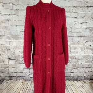 Vintage S Mohair Long Red Cardigan Sweatercoat